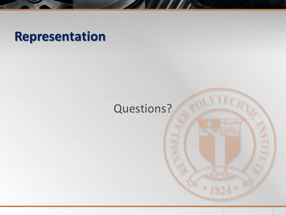 Representation Questions?