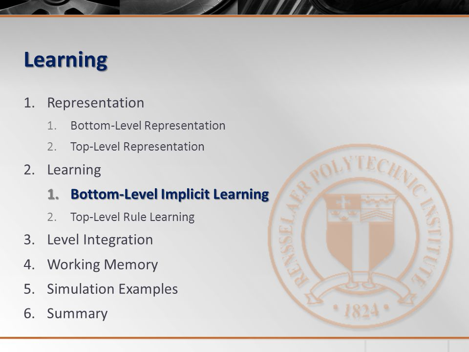 Learning 1.Representation 1.Bottom-Level Representation 2.Top-Level Representation 2.Learning 1.Bottom-Level Implicit Learning 2.Top-Level Rule Learning 3.Level Integration 4.Working Memory 5.Simulation Examples 6.Summary