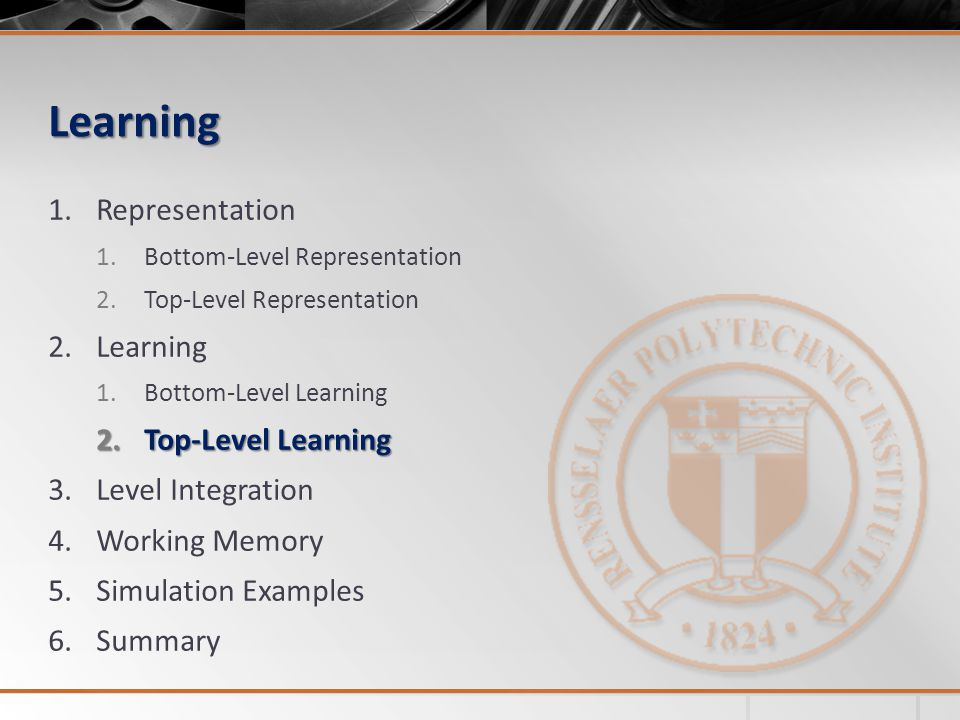 Learning 1.Representation 1.Bottom-Level Representation 2.Top-Level Representation 2.Learning 1.Bottom-Level Learning 2.Top-Level Learning 3.Level Integration 4.Working Memory 5.Simulation Examples 6.Summary