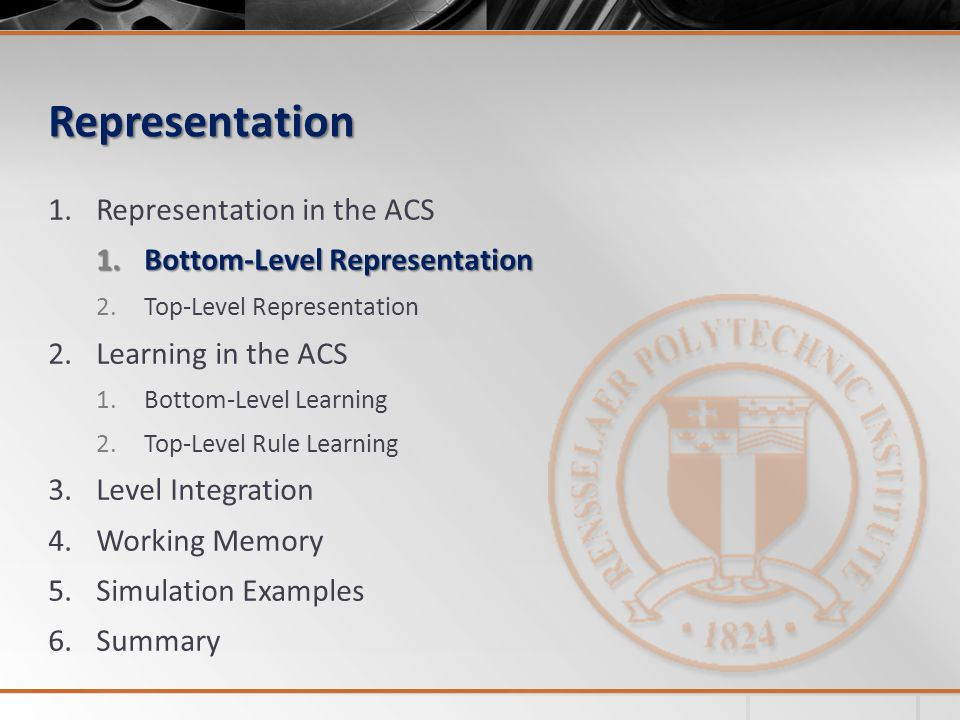 Representation 1.Representation in the ACS 1.Bottom-Level Representation 2.Top-Level Representation 2.Learning in the ACS 1.Bottom-Level Learning 2.Top-Level Rule Learning 3.Level Integration 4.Working Memory 5.Simulation Examples 6.Summary