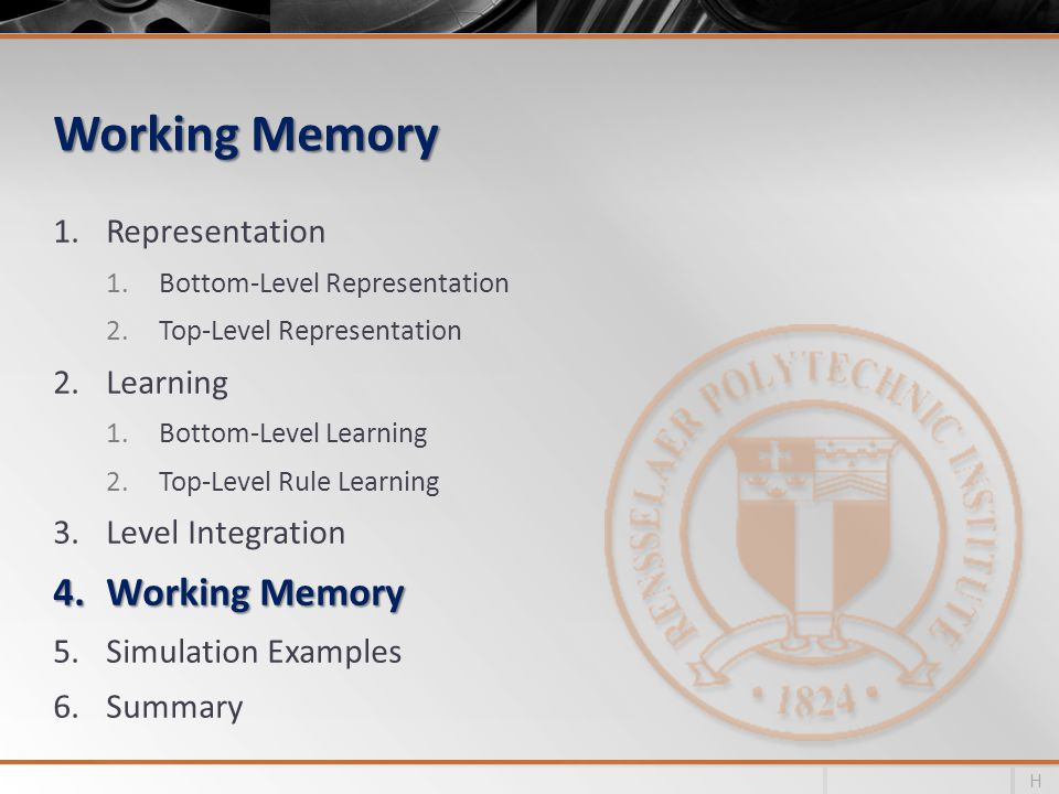 Working Memory 1.Representation 1.Bottom-Level Representation 2.Top-Level Representation 2.Learning 1.Bottom-Level Learning 2.Top-Level Rule Learning 3.Level Integration 4.Working Memory 5.Simulation Examples 6.Summary H