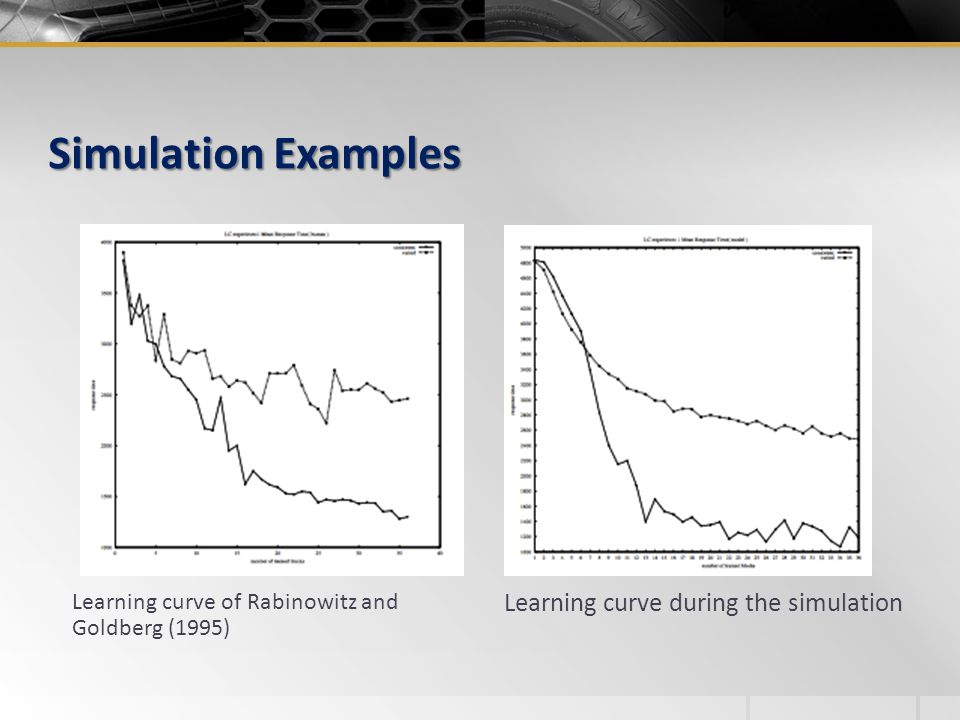 Simulation Examples Learning curve of Rabinowitz and Goldberg (1995) Learning curve during the simulation