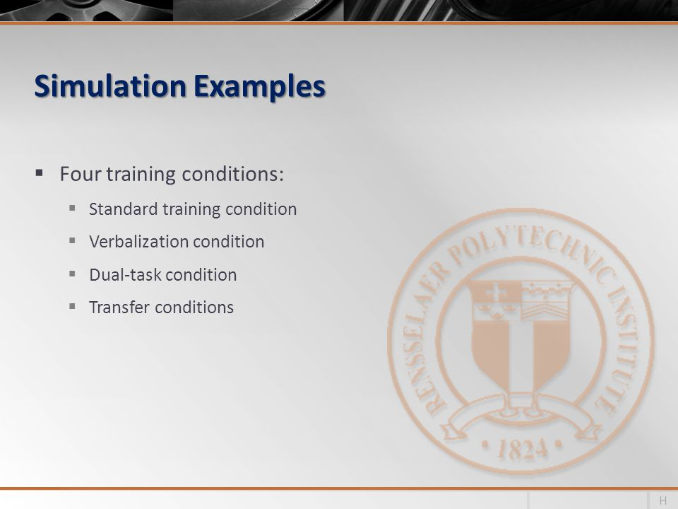 Simulation Examples Four training conditions: Standard training condition Verbalization condition Dual-task condition Transfer conditions H