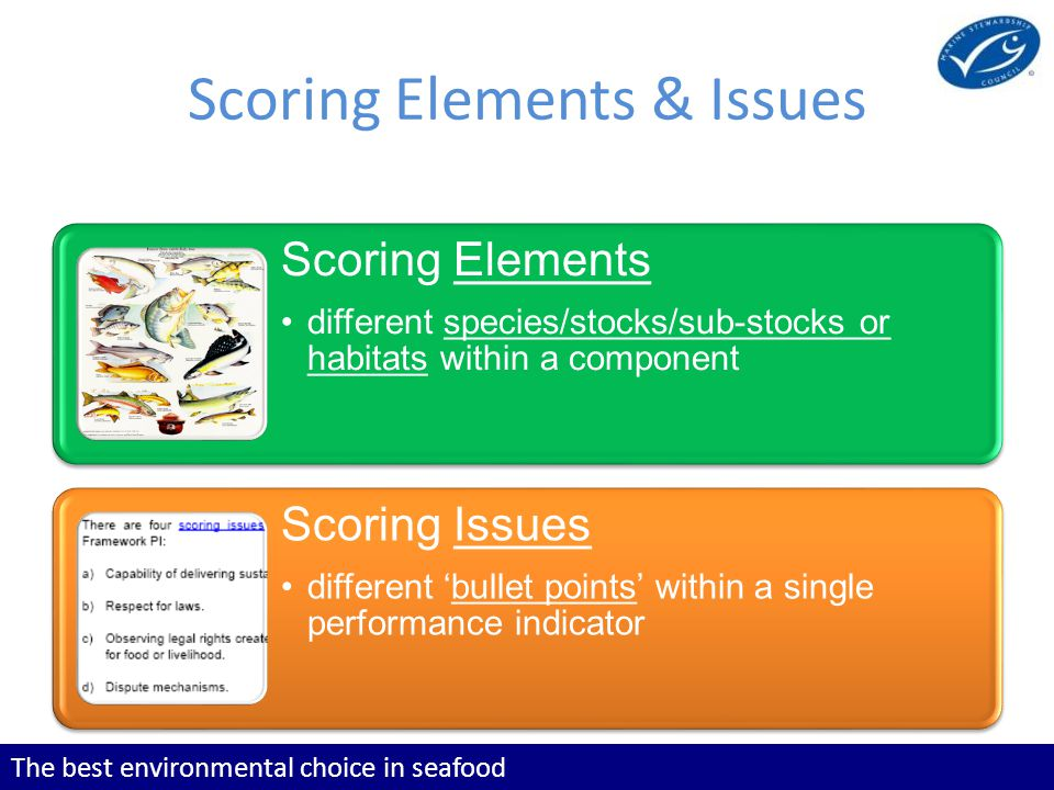 The best environmental choice in seafood Scoring Elements & Issues Scoring Elements different species/stocks/sub-stocks or habitats within a component