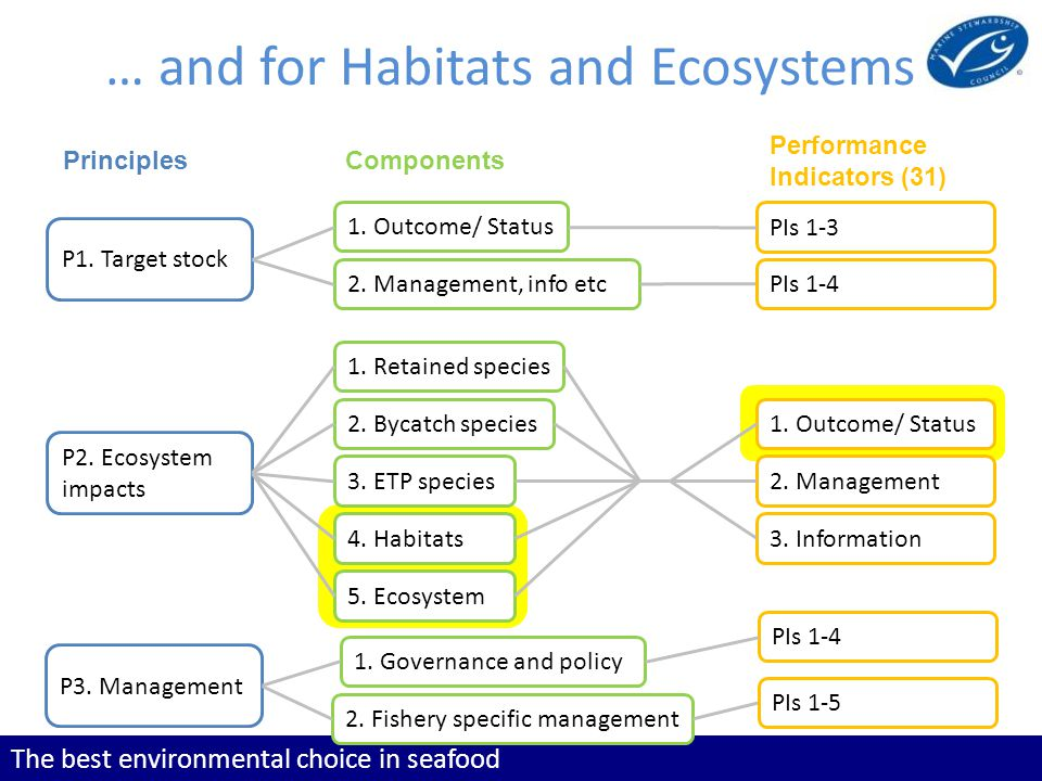 The best environmental choice in seafood … and for Habitats and Ecosystems P1. Target stock P2. Ecosystem impacts P3. Management 1. Outcome/ Status 2.