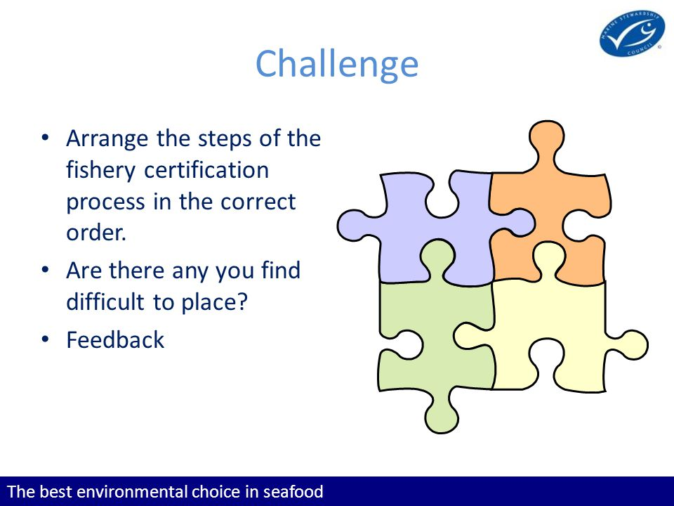 The best environmental choice in seafood Challenge Arrange the steps of the fishery certification process in the correct order.
