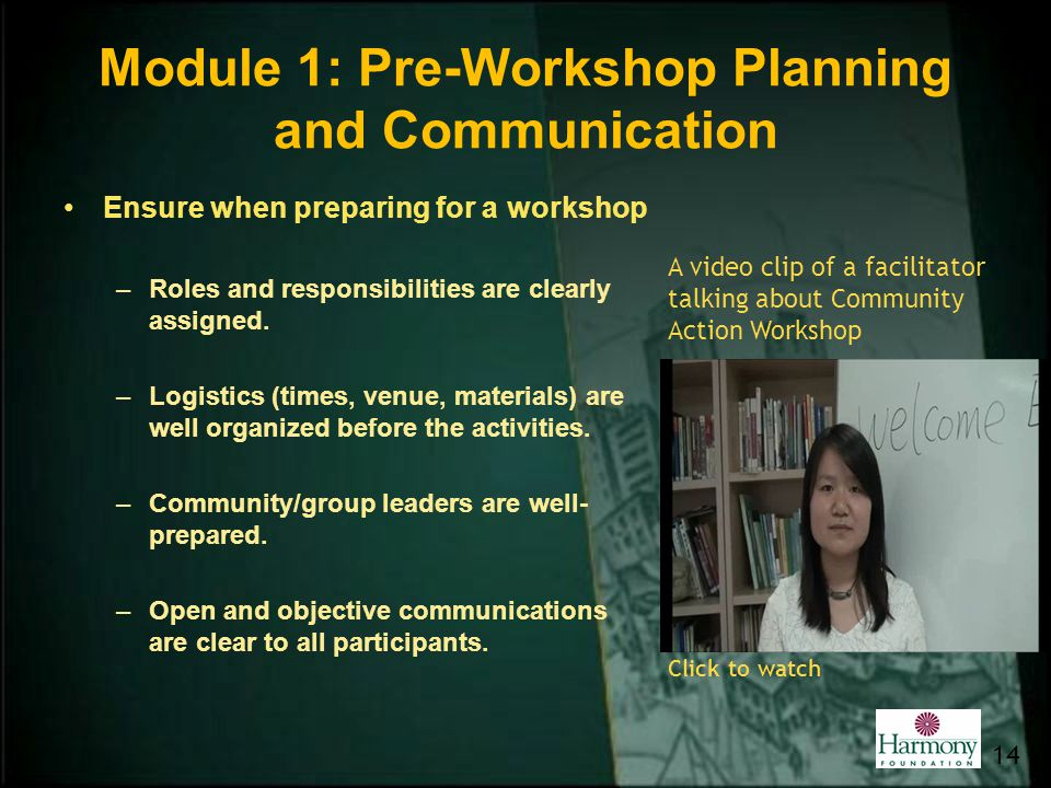 Module 1: Pre-Workshop Planning and Communication Ensure when preparing for a workshop –Roles and responsibilities are clearly assigned. –Logistics (t