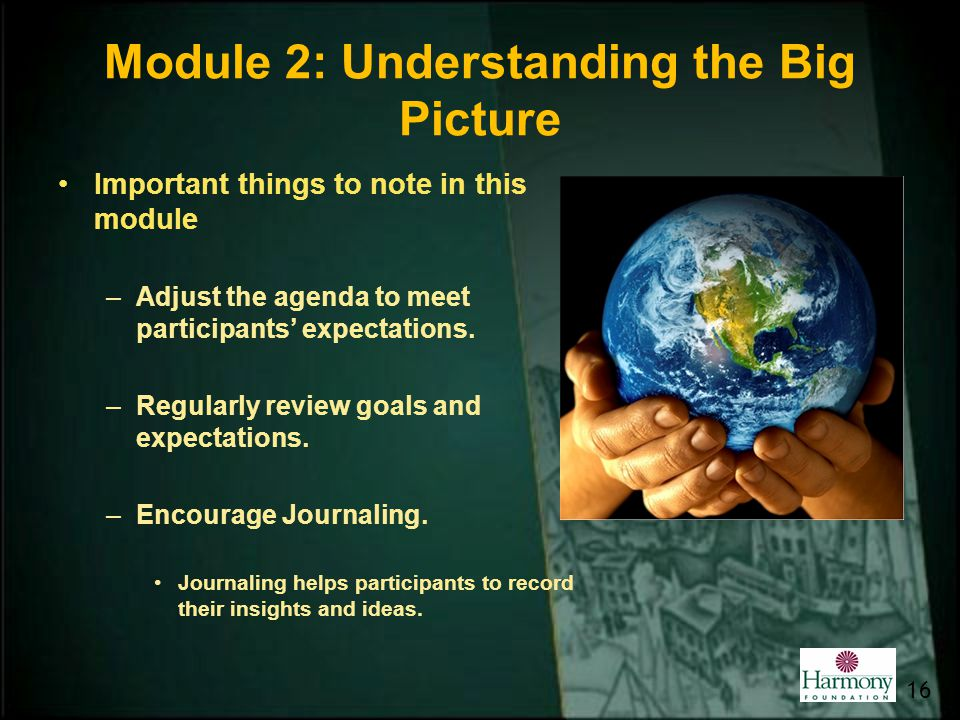 Module 2: Understanding the Big Picture Important things to note in this module –Adjust the agenda to meet participants expectations. –Regularly revie