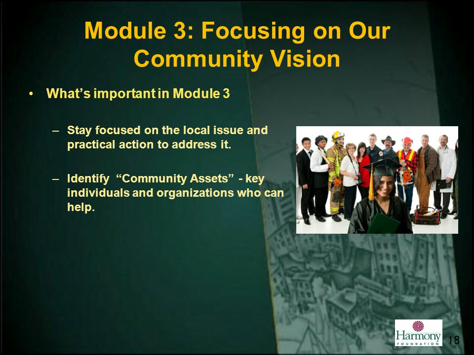 Module 3: Focusing on Our Community Vision Whats important in Module 3 –Stay focused on the local issue and practical action to address it. –Identify