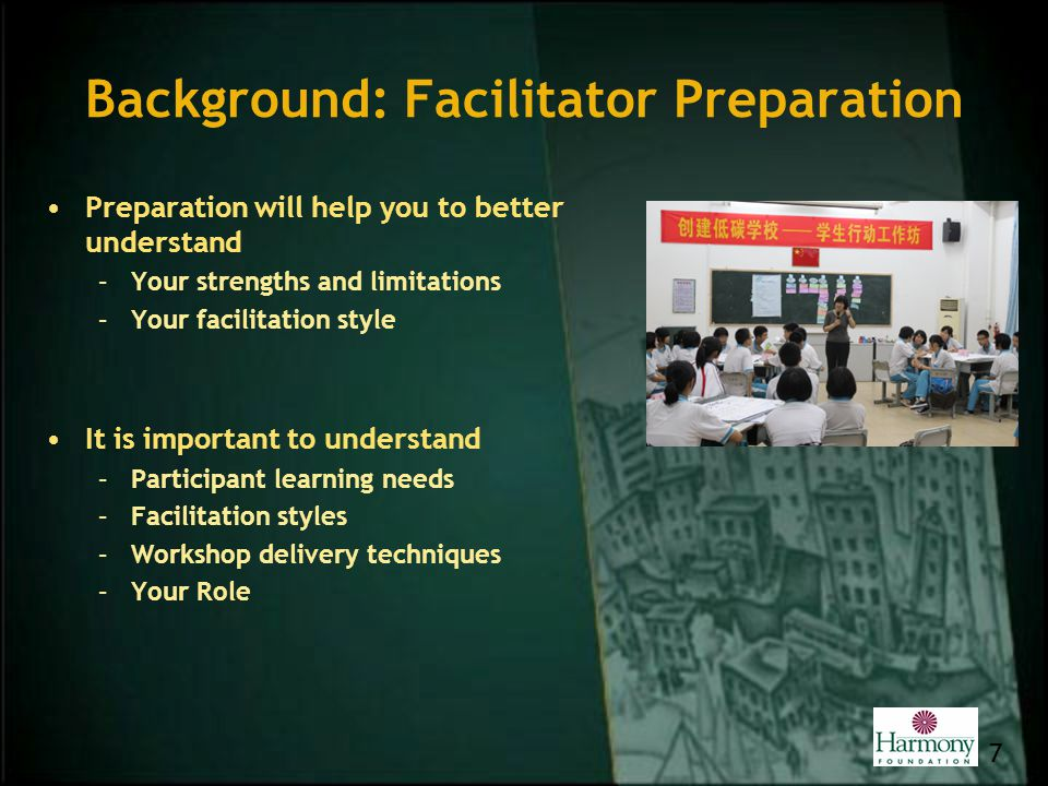 Background: Facilitator Preparation Preparation will help you to better understand –Your strengths and limitations –Your facilitation style It is impo
