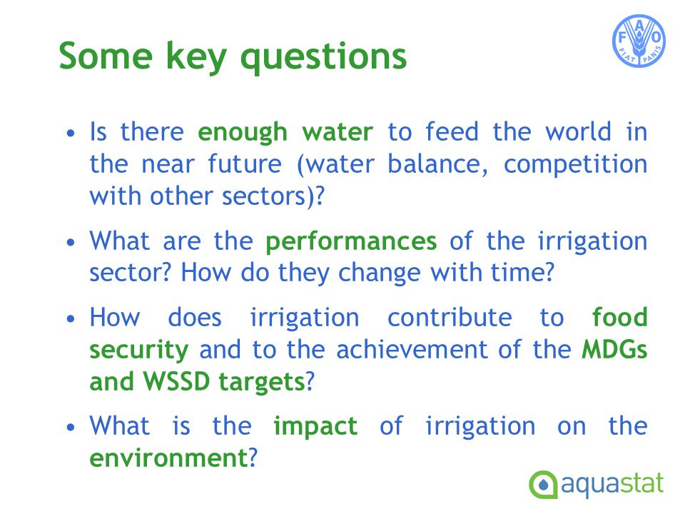 Some key questions Is there enough water to feed the world in the near future (water balance, competition with other sectors).