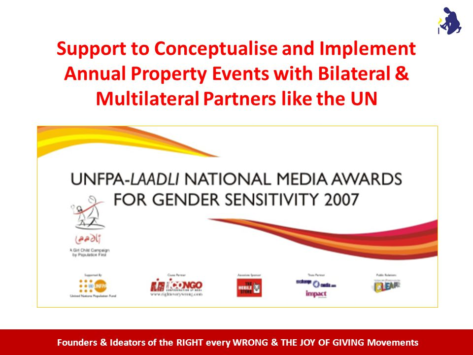 Founders & Ideators of the RIGHT every WRONG & THE JOY OF GIVING Movements Support to Conceptualise and Implement Annual Property Events with Bilateral & Multilateral Partners like the UN