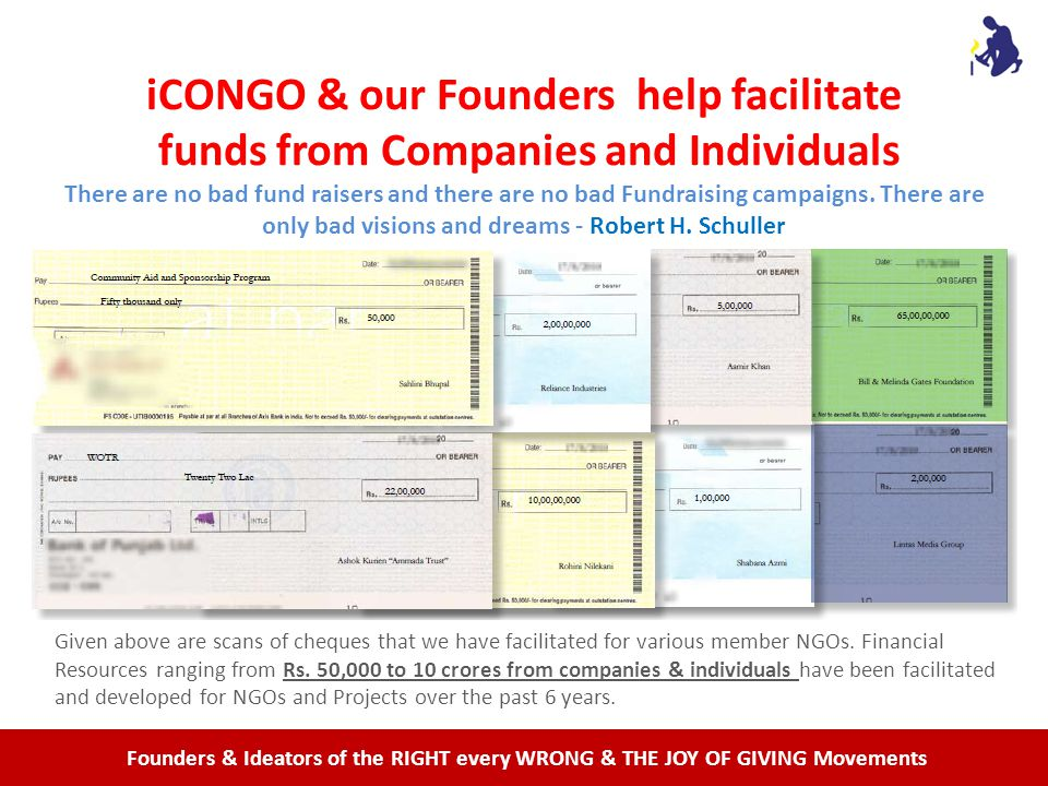 Founders & Ideators of the RIGHT every WRONG & THE JOY OF GIVING Movements iCONGO & our Founders help facilitate funds from Companies and Individuals There are no bad fund raisers and there are no bad Fundraising campaigns.