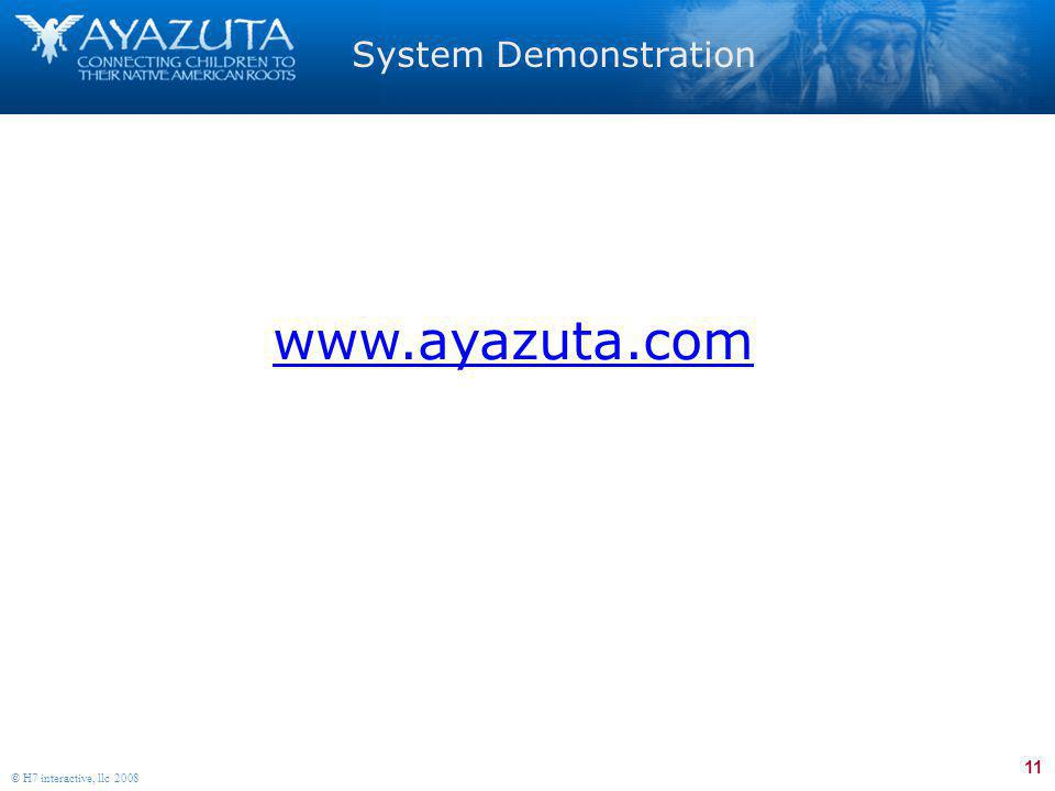 11 © H7 interactive, llc 2008 System Demonstration www.ayazuta.com