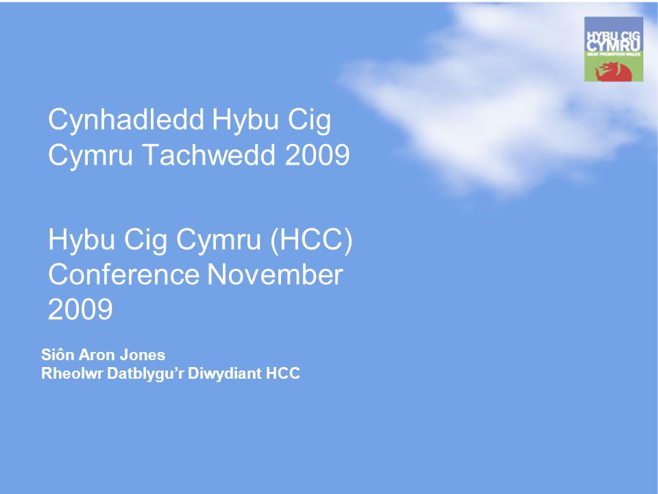 Siôn Aron Jones Rheolwr Datblygur Diwydiant HCC Cynhadledd Hybu Cig Cymru Tachwedd 2009 Hybu Cig Cymru (HCC) Conference November 2009
