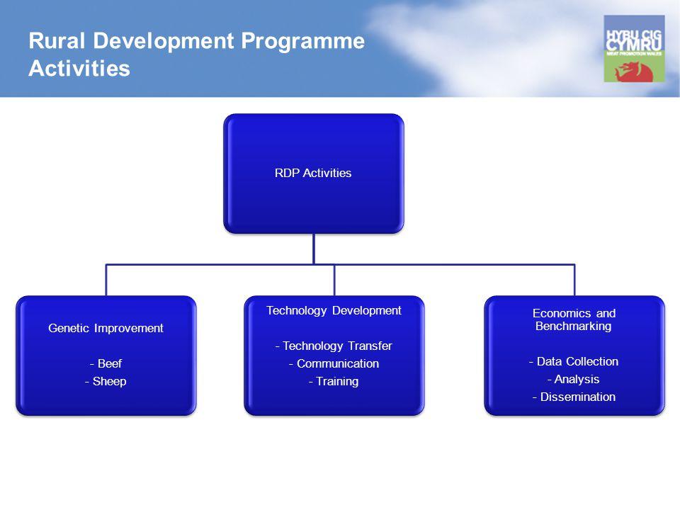 Rural Development Programme Activities RDP Activities Genetic Improvement - Beef - Sheep Technology Development - Technology Transfer - Communication - Training Economics and Benchmarking - Data Collection - Analysis - Dissemination
