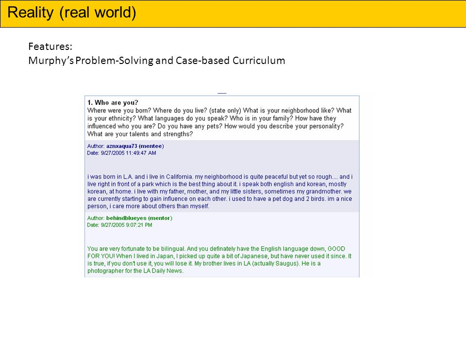 Features: Murphys Problem-Solving and Case-based Curriculum Reality (real world)
