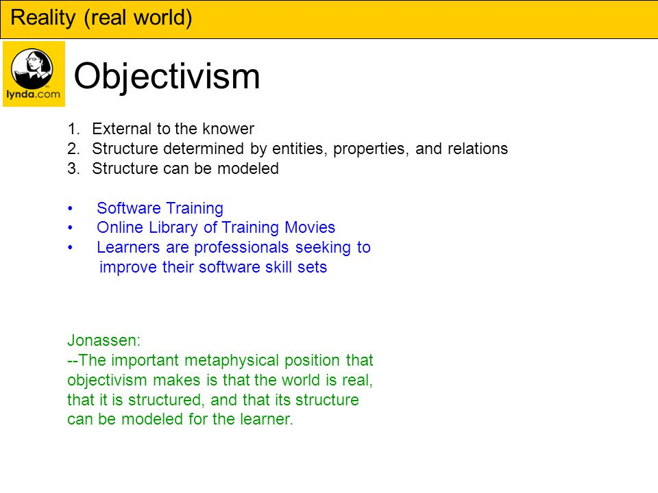 Reality (real world) Objectivism 1.External to the knower 2.Structure determined by entities, properties, and relations 3.Structure can be modeled Software Training Online Library of Training Movies Learners are professionals seeking to improve their software skill sets Jonassen: --The important metaphysical position that objectivism makes is that the world is real, that it is structured, and that its structure can be modeled for the learner.