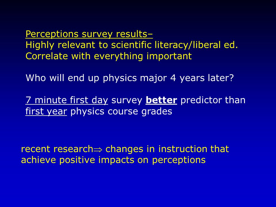 Perceptions survey results– Highly relevant to scientific literacy/liberal ed.