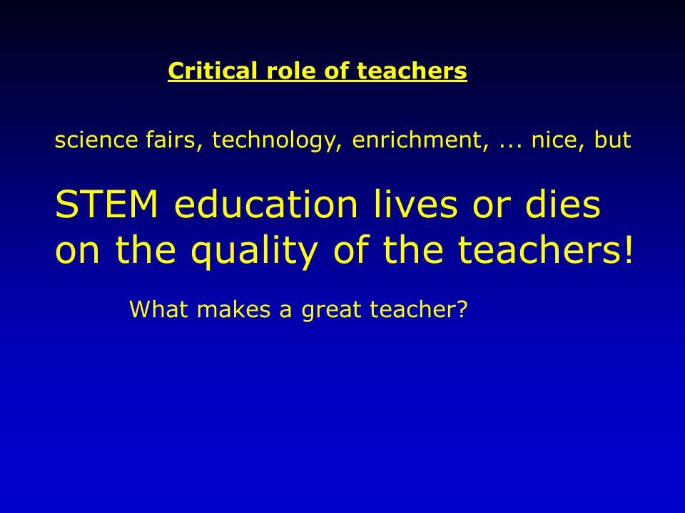 Critical role of teachers science fairs, technology, enrichment,...