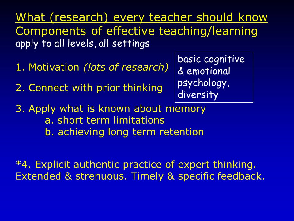 What (research) every teacher should know Components of effective teaching/learning apply to all levels, all settings 1.