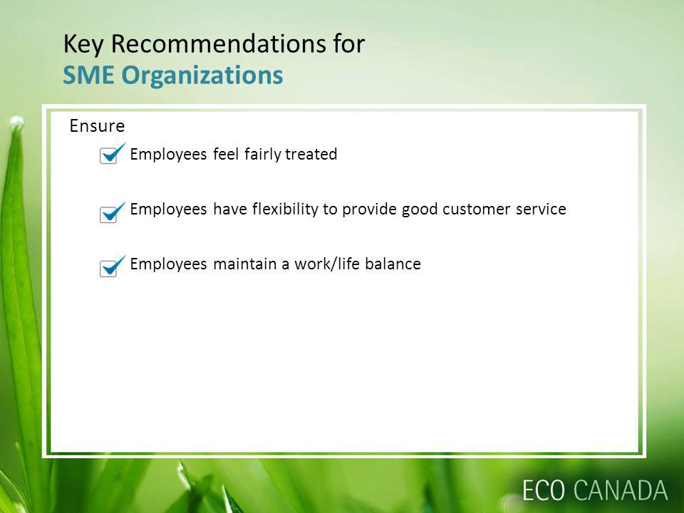 Key Recommendations for SME Organizations Ensure Employees feel fairly treated Employees have flexibility to provide good customer service Employees maintain a work/life balance