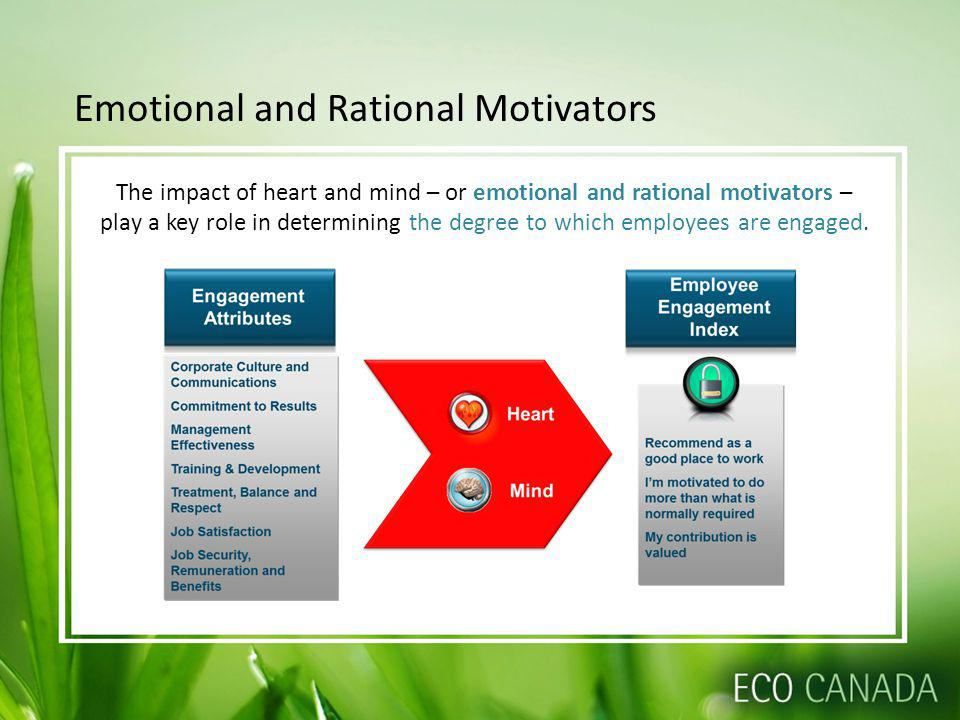 Emotional and Rational Motivators The impact of heart and mind – or emotional and rational motivators – play a key role in determining the degree to which employees are engaged.