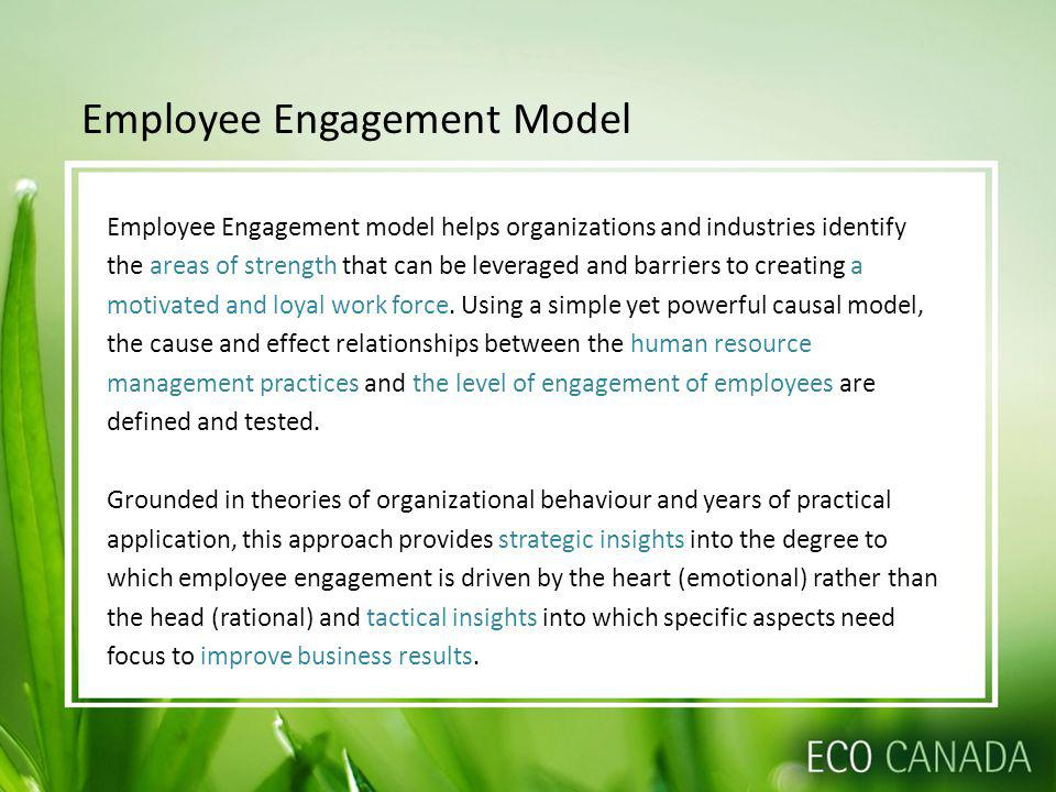 Employee Engagement Model Employee Engagement model helps organizations and industries identify the areas of strength that can be leveraged and barriers to creating a motivated and loyal work force.