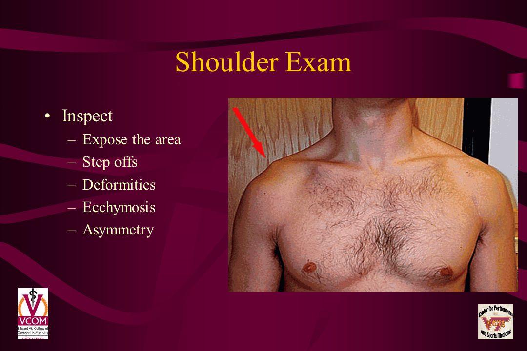 Shoulder Exam Inspect –Expose the area –Step offs –Deformities –Ecchymosis –Asymmetry