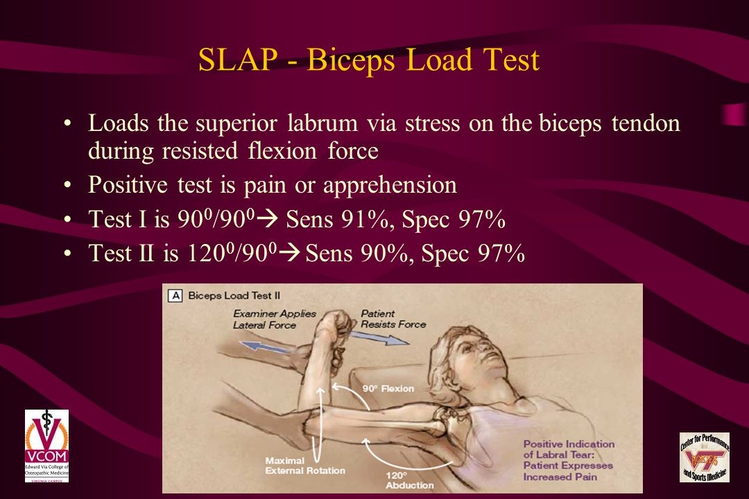 SLAP - Biceps Load Test Loads the superior labrum via stress on the biceps tendon during resisted flexion force Positive test is pain or apprehension