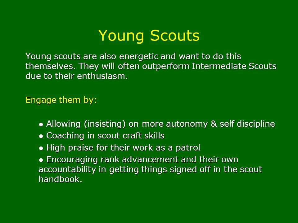 Young scouts are also energetic and want to do this themselves. They will often outperform Intermediate Scouts due to their enthusiasm. Engage them by