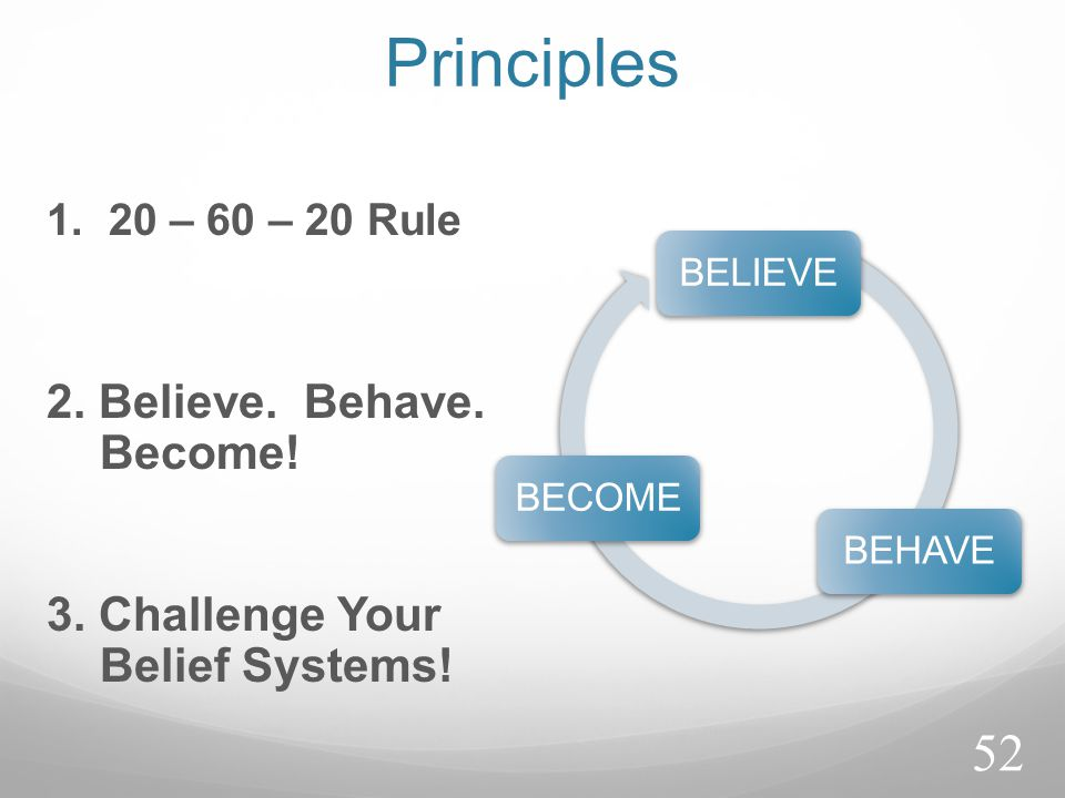 Principles 1. 20 – 60 – 20 Rule BELIEVEBEHAVEBECOME 2. Believe. Behave. Become! 3. Challenge Your Belief Systems! 52