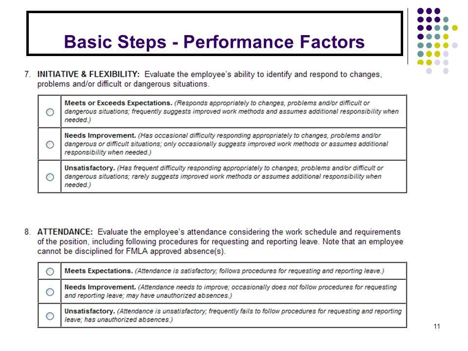 Basic Steps - Performance Factors 11