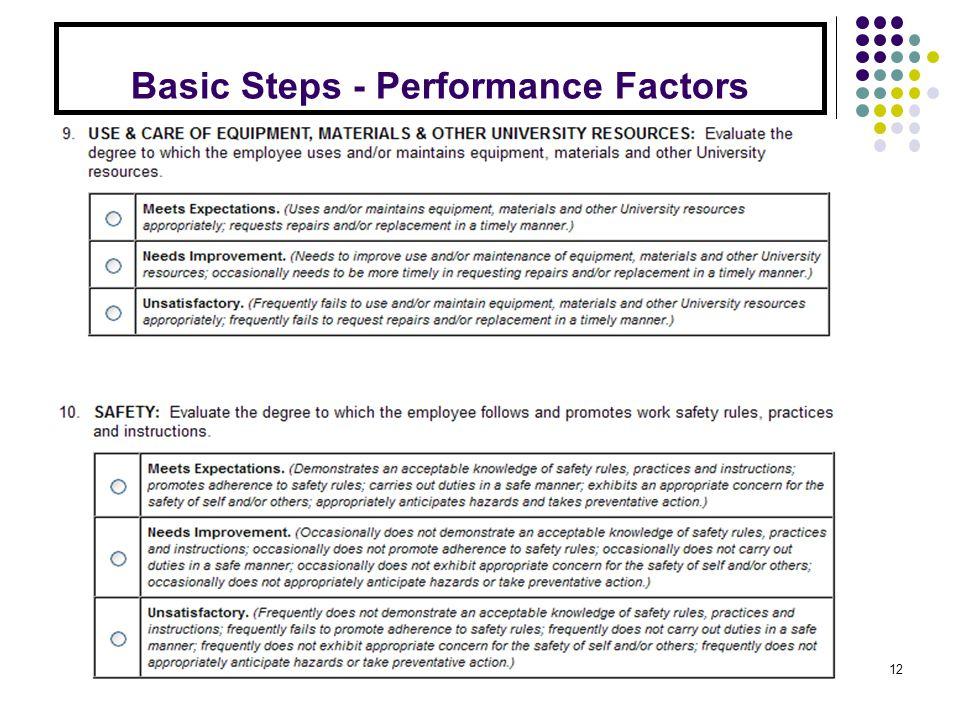 Basic Steps - Performance Factors 12