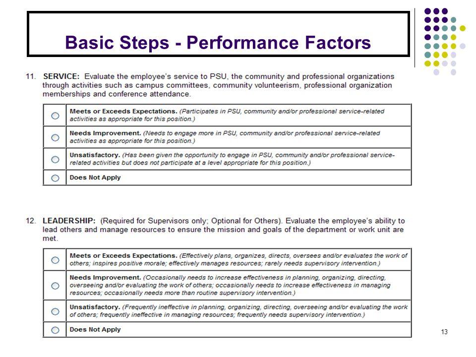 Basic Steps - Performance Factors 13