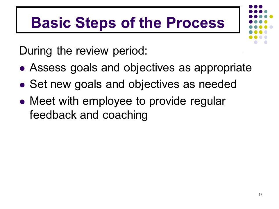Basic Steps of the Process During the review period: Assess goals and objectives as appropriate Set new goals and objectives as needed Meet with employee to provide regular feedback and coaching 17