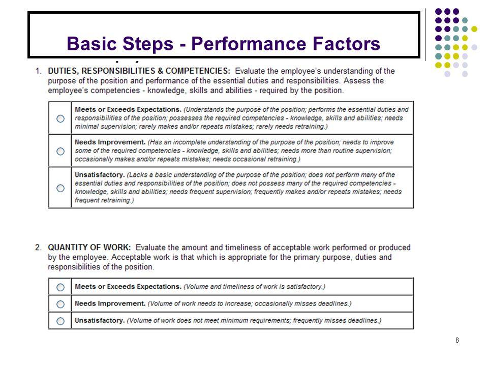 Basic Steps - Performance Factors 8