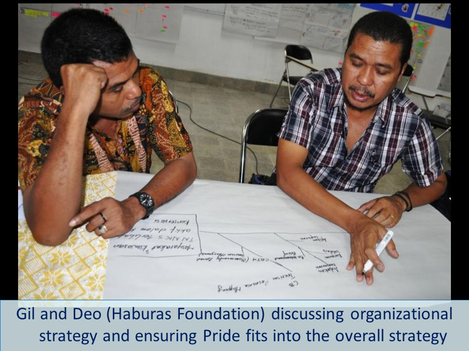 Gil and Deo (Haburas Foundation) discussing organizational strategy and ensuring Pride fits into the overall strategy