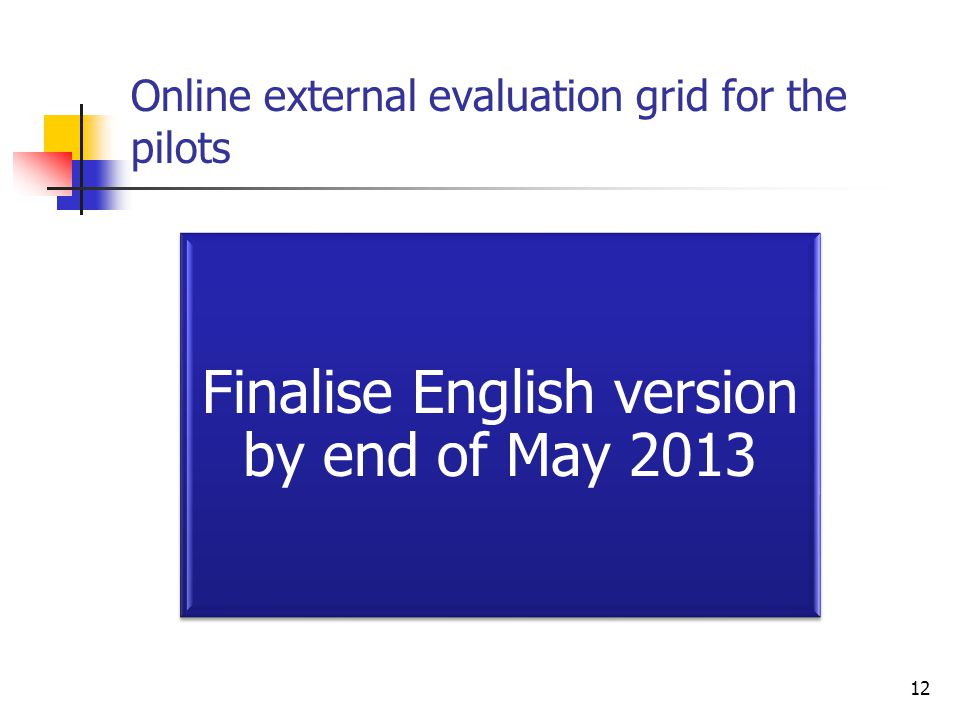 Online external evaluation grid for the pilots 12 Finalise English version by end of May 2013