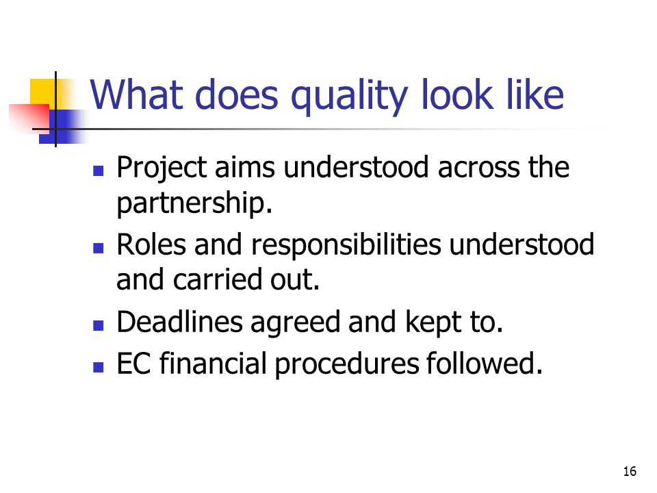 What does quality look like Project aims understood across the partnership. Roles and responsibilities understood and carried out. Deadlines agreed an