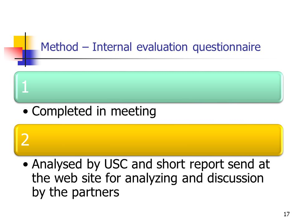 Method – Internal evaluation questionnaire 17 1 Completed in meeting 2 Analysed by USC and short report send at the web site for analyzing and discussion by the partners