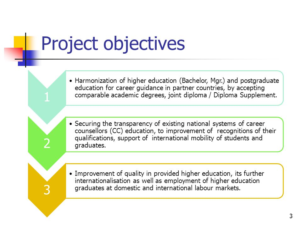 Project objectives 3 1 Harmonization of higher education (Bachelor, Mgr.) and postgraduate education for career guidance in partner countries, by acce