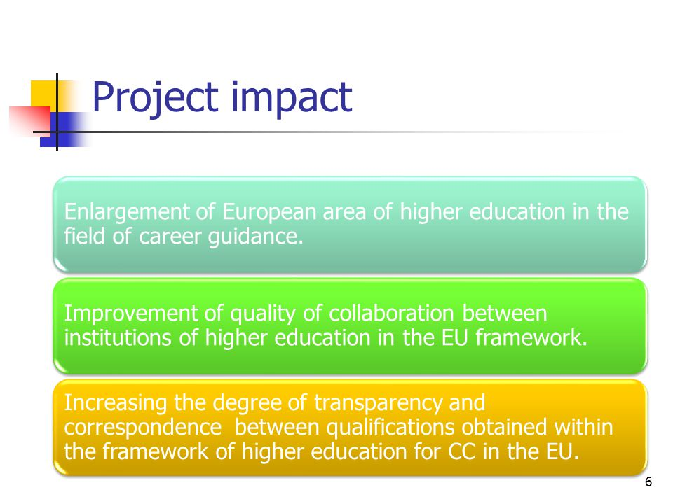 Project impact 6 Enlargement of European area of higher education in the field of career guidance.