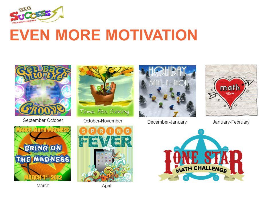 EVEN MORE MOTIVATION January-February March September-October October-November April December-January