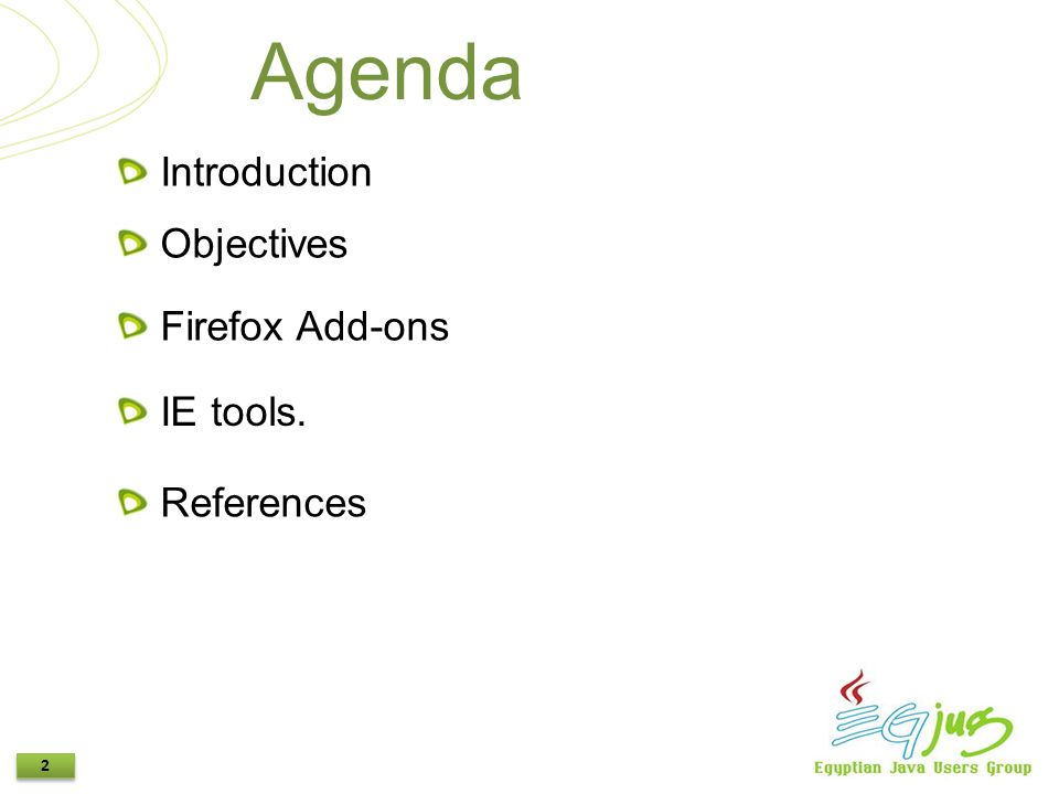2 2 Agenda Objectives Firefox Add-ons IE tools. Introduction References