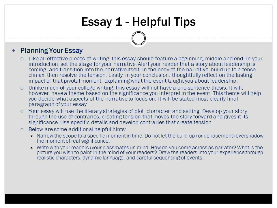 Essay 1 - Helpful Tips Planning Your Essay Like all effective pieces of writing, this essay should feature a beginning, middle and end. In your introd