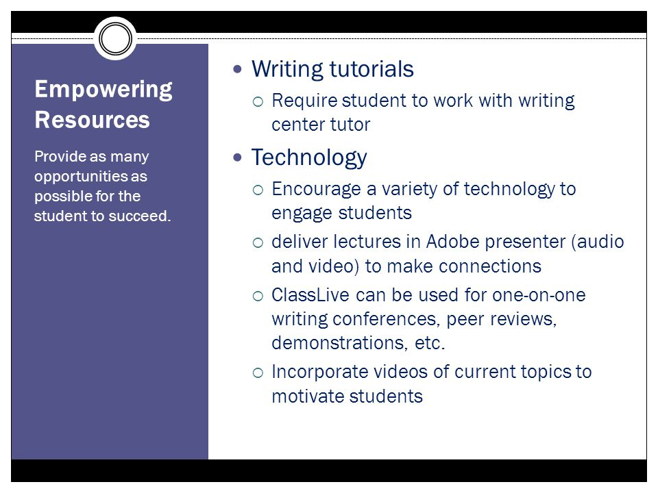 Empowering Resources Provide as many opportunities as possible for the student to succeed. Writing tutorials Require student to work with writing cent
