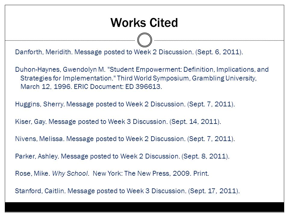 Works Cited Danforth, Meridith. Message posted to Week 2 Discussion. (Sept. 6, 2011). Duhon-Haynes, Gwendolyn M.