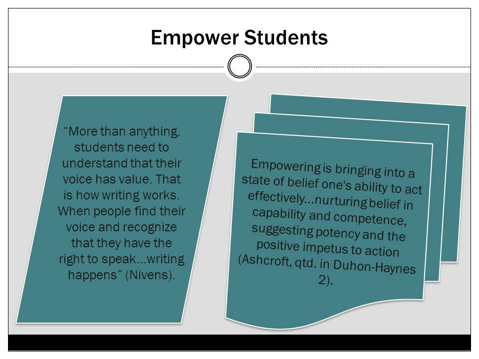 Empower Students Empowering is bringing into a state of belief one's ability to act effectively...nurturing belief in capability and competence, sugge