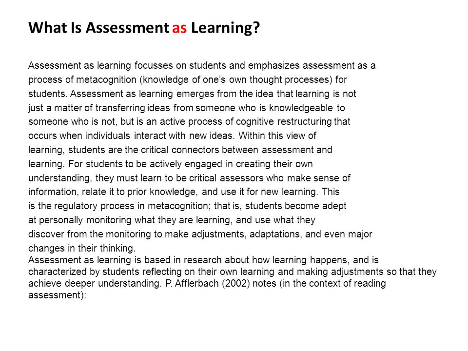 What Is Assessment as Learning.